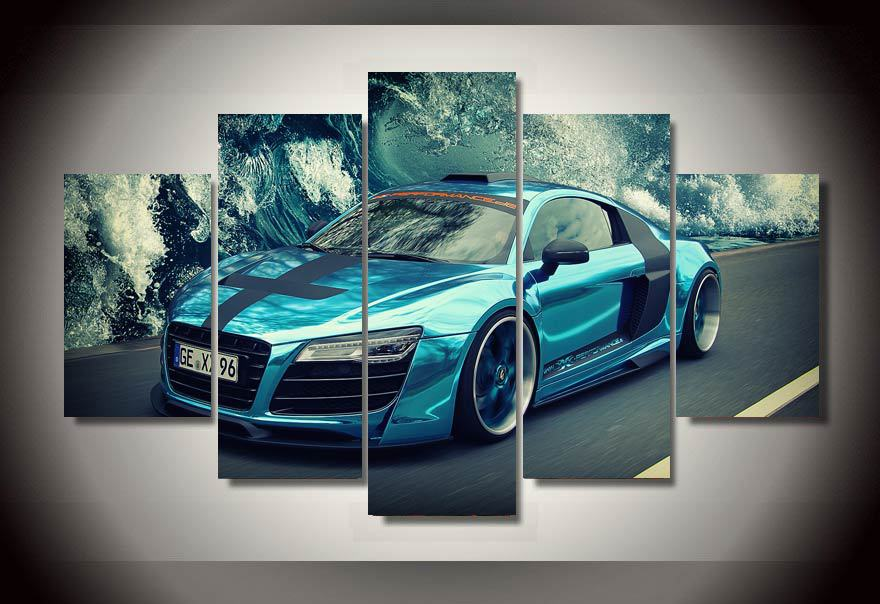 5 panels blue sports car canvas art