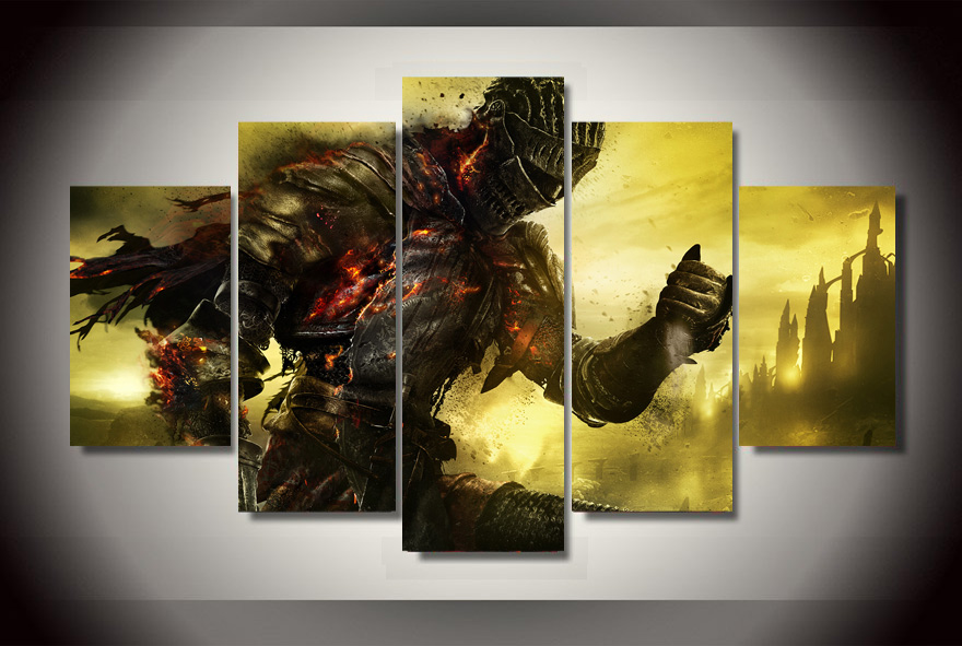 5 Panels Dark Souls 3 Group Artwork | Multi Canvas Art