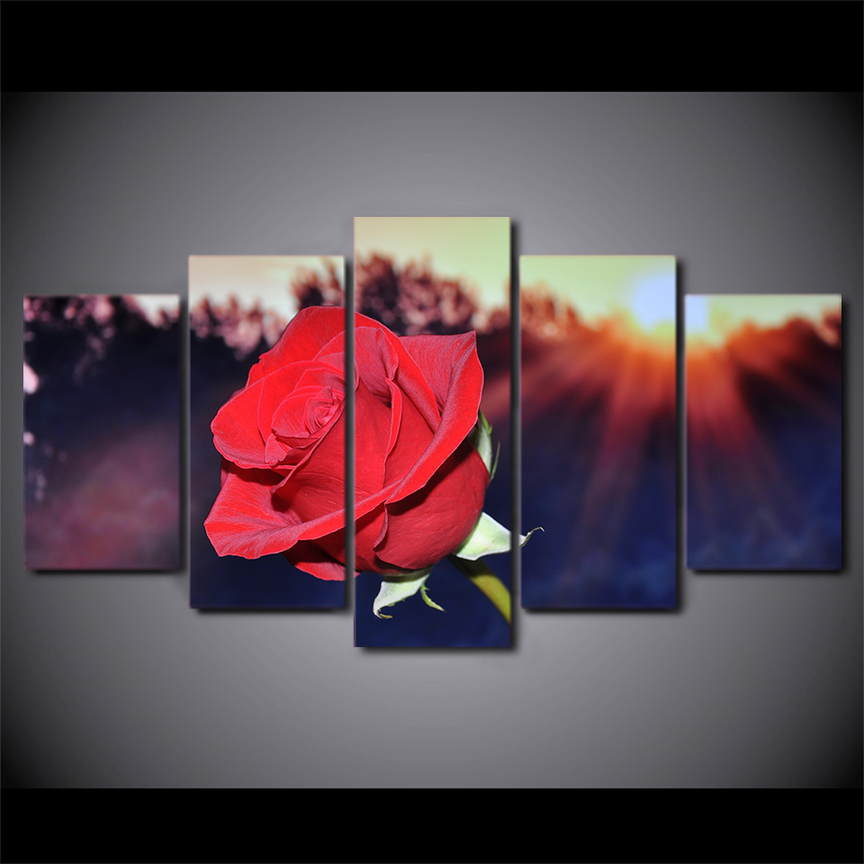5 Panels Passionate Red Rose Framed Poster Print Canvas Art Multi Piece