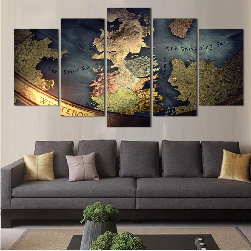Game Of Thrones Map CANVAS or PRINT WALL ART